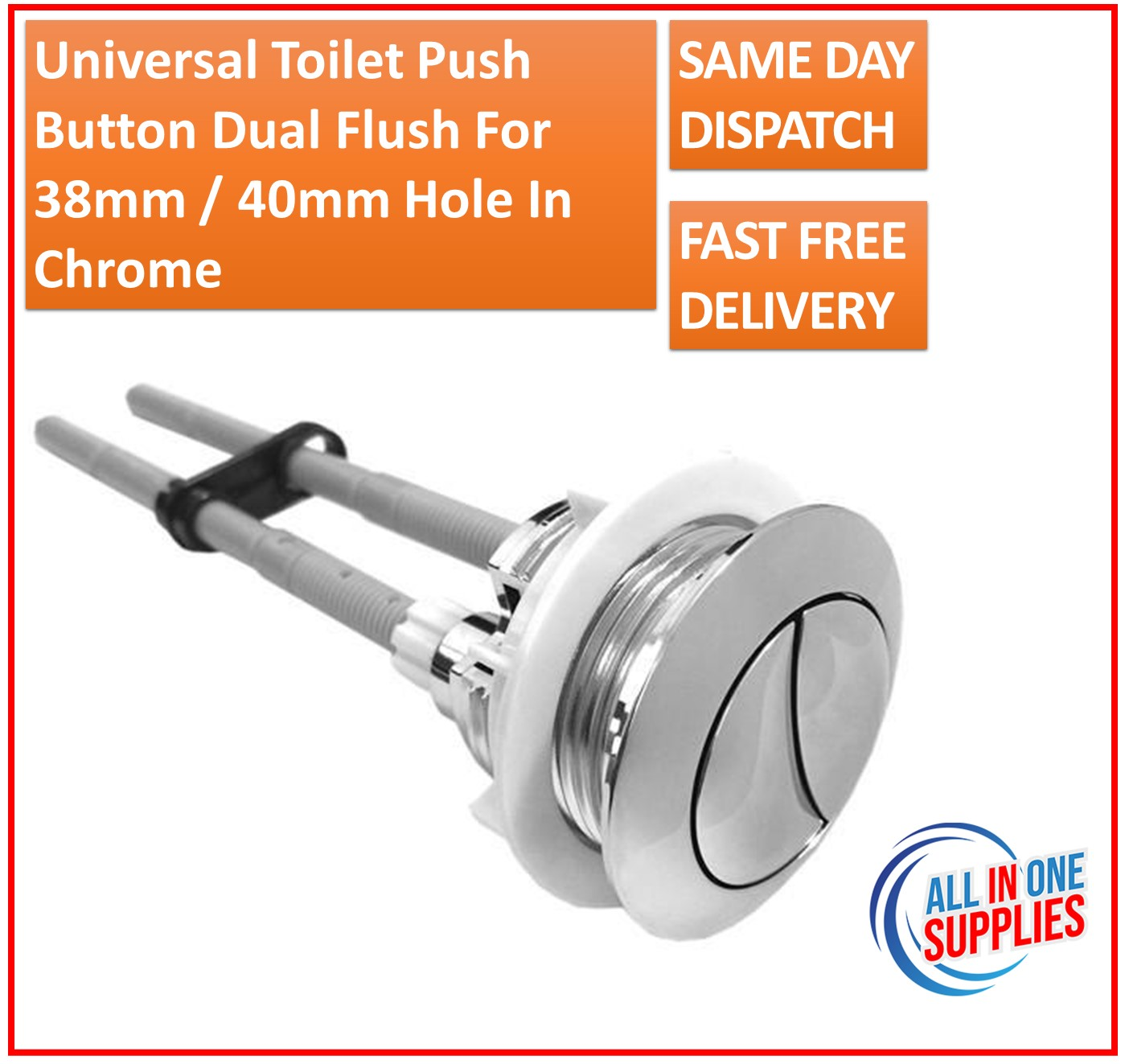 Universal Type Toilet Push Button Dual Flush for 38mm 40mm Hole in Chrome