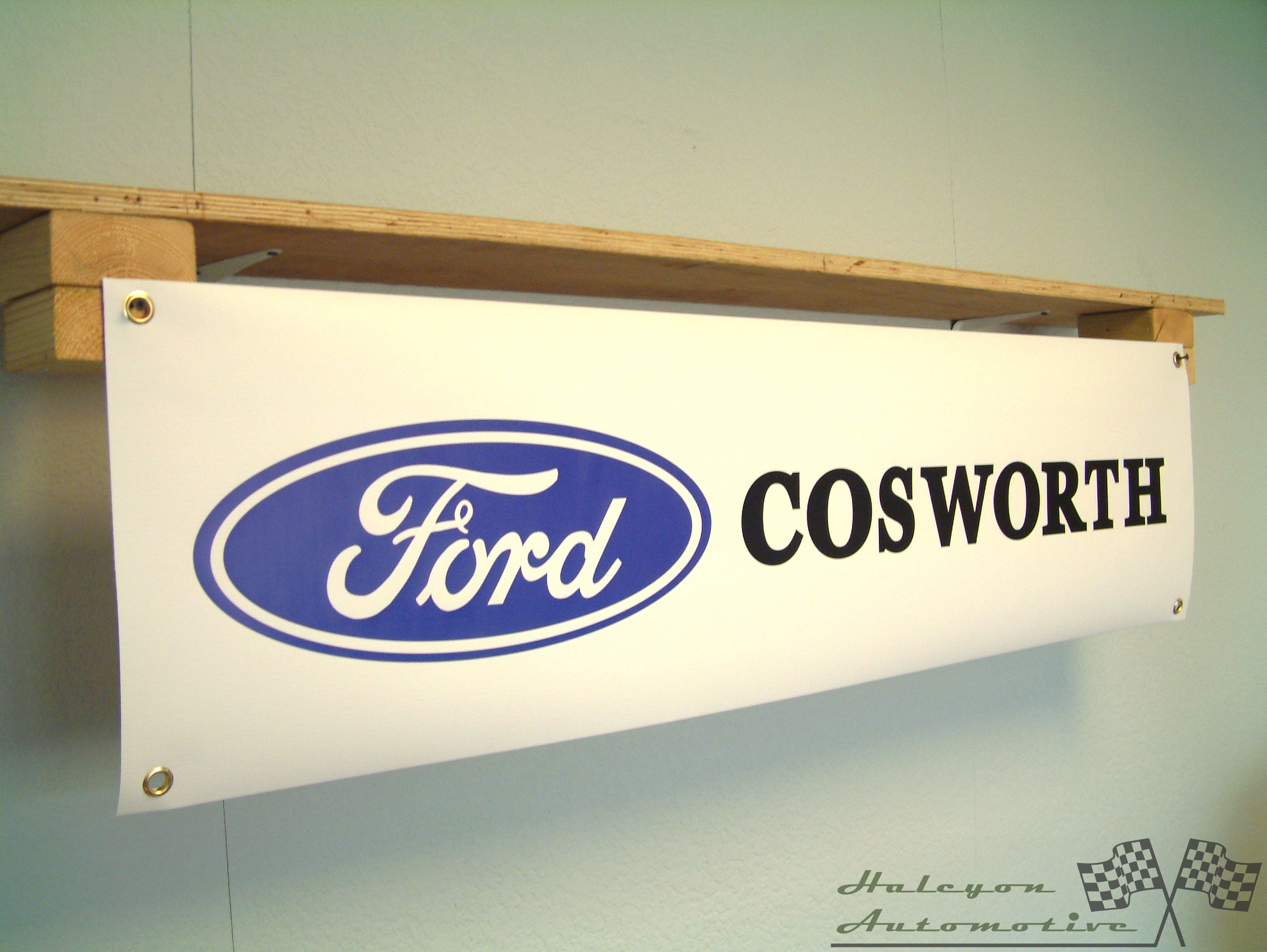 Ford Escort RS Cosworth turb rally car large pvc  WORK SHOP BANNER garage