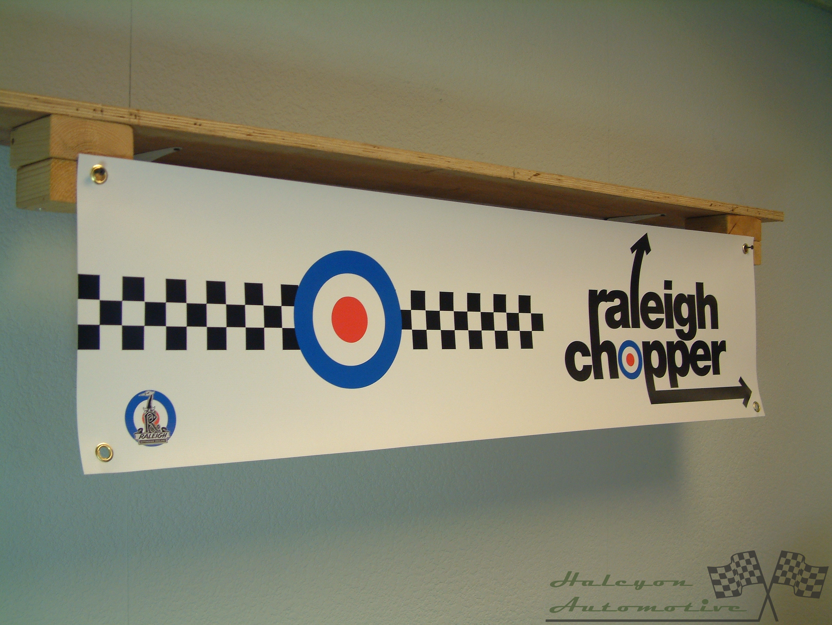 PVC with eyelets Garage Retro, Raleigh Chopper Banner for Workshop